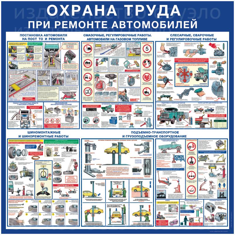 Безопасность труда при ремонте автомобилей,  пластик,  1000х1000 мм или 1500х1500 мм