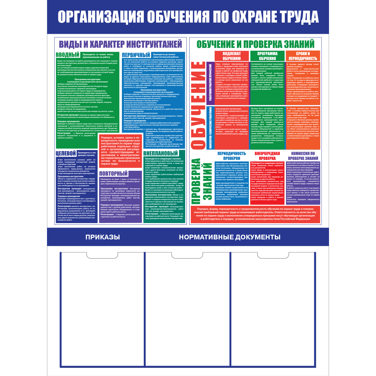 стенд Организация обучения по охране труда  1000х750 мм,  3 кармана А4