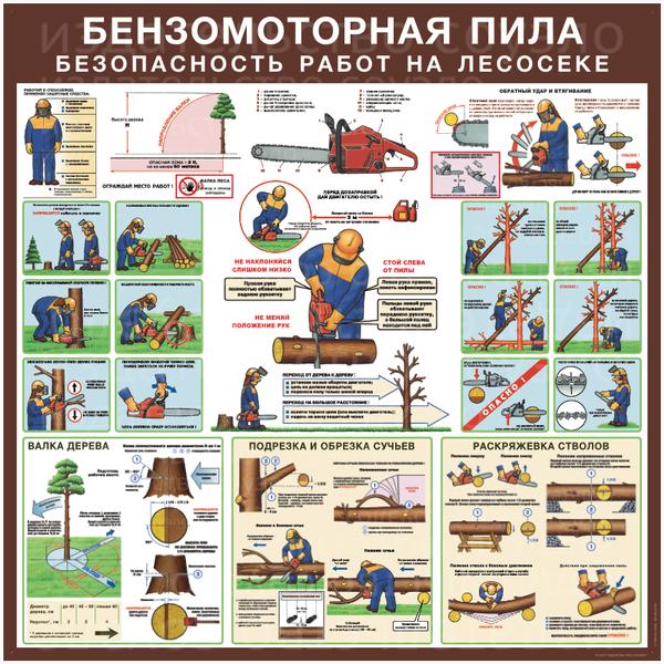 плакат Бензомоторная пила.  Безопасность работ на лесосеке  500х1000 мм или 750х1500 мм