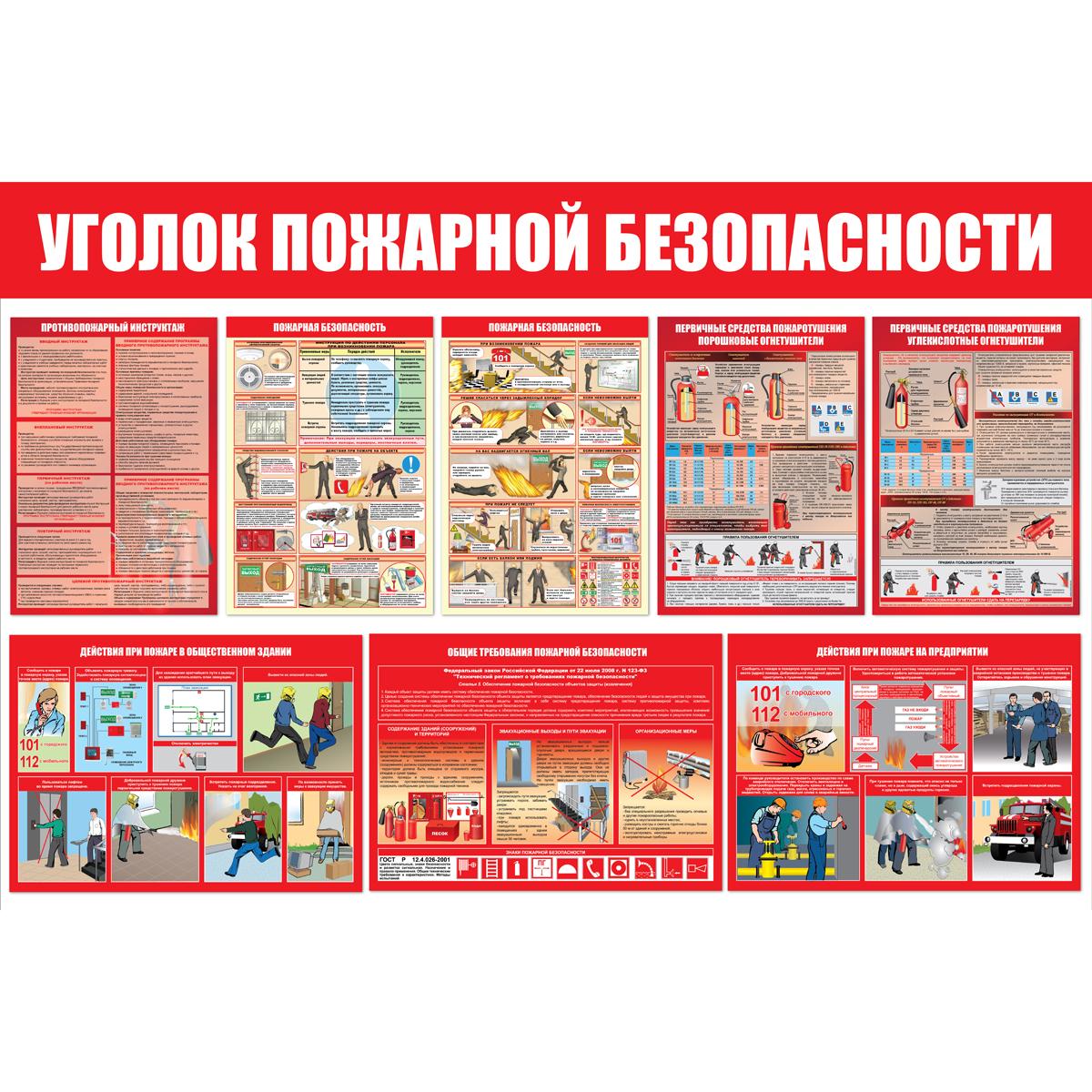 Уголок пожарной безопасности, пластик 3 мм, 1000х1500 мм.1