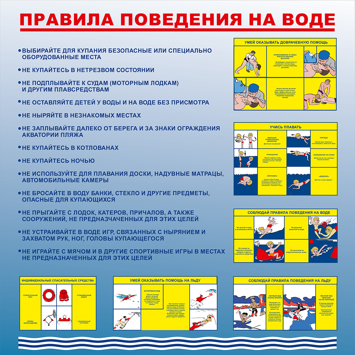 Правила поведения на воде  1000х1000 мм
