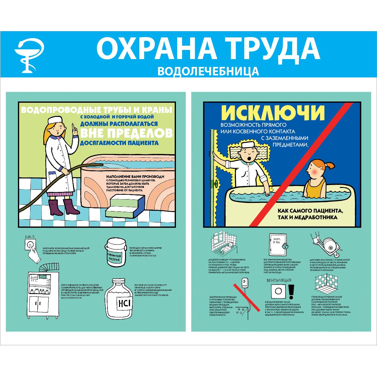 плакат Охрана труда в водолечебнице,  1000х1200 мм,  пластик 3 мм