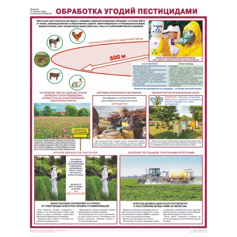 плакат Обработка угодий пестицидами  1000х763 мм