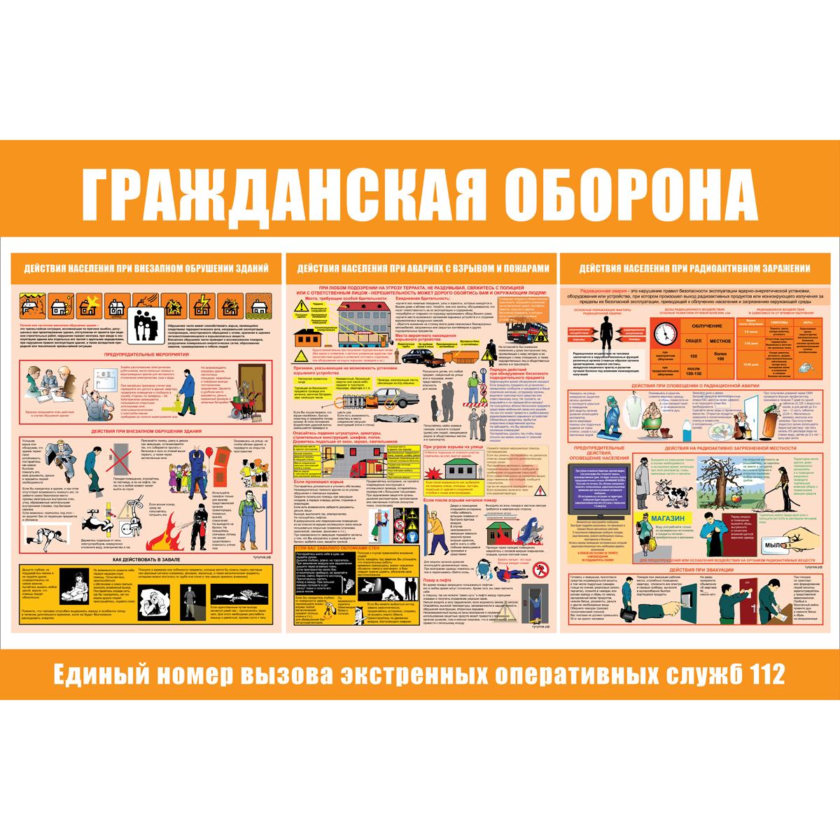 плакат Гражданская оборона  1000х1500 мм