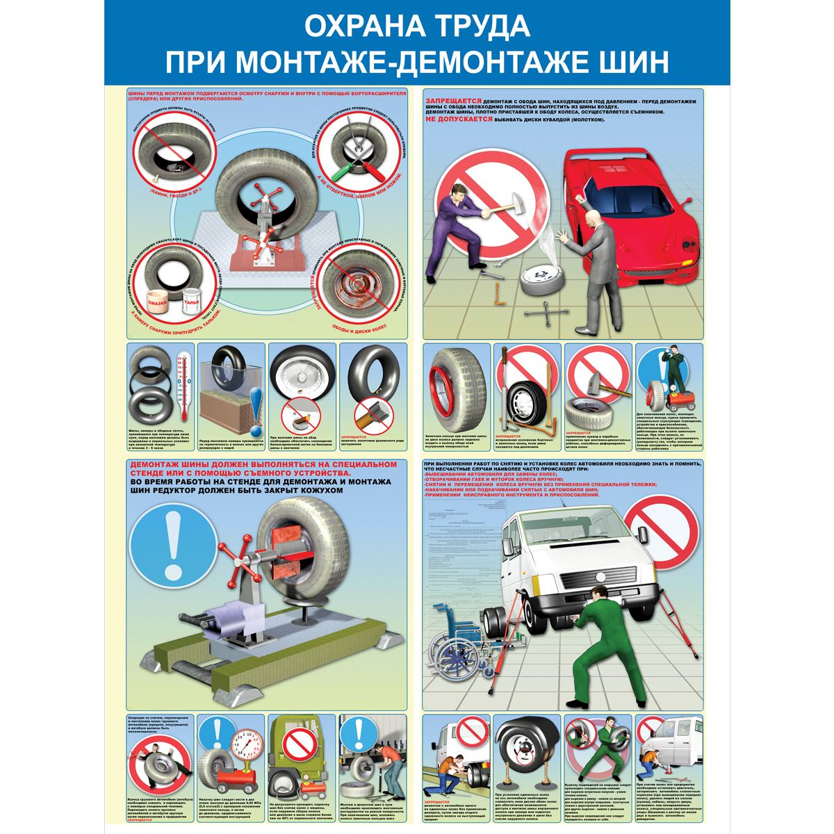 Охрана труда при монтаже (демонтаже) шин  1000х750 мм