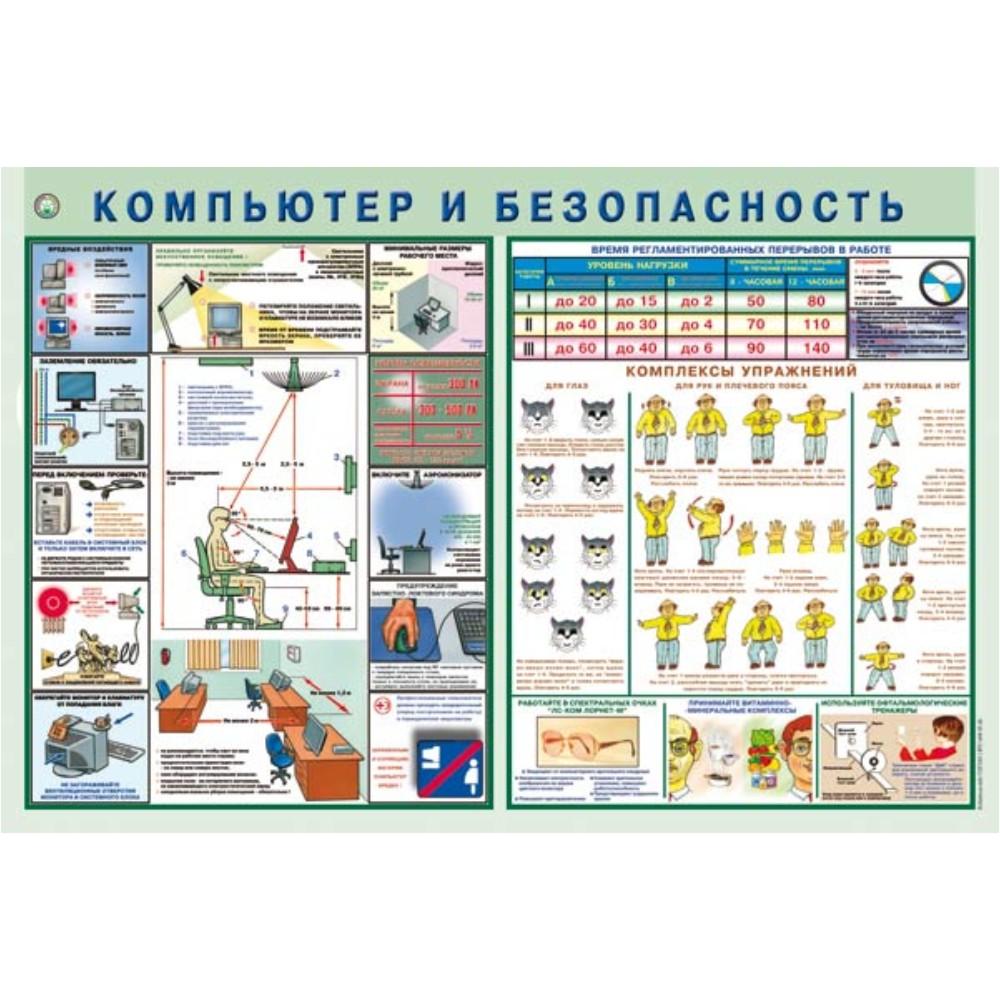 плакат Компьютер и безопасность  500х750 мм