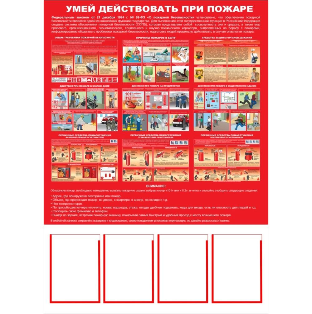 плакат Умей действовать при пожаре  1000х1400 мм,  4 кармана А4
