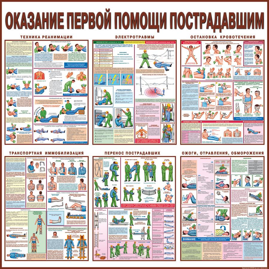 плакат Оказание первой помощи пострадавшим  1000х1000 мм