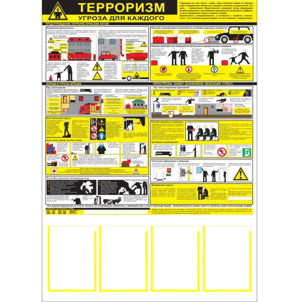 плакат Терроризм - угроза обществу  1000х1400 мм,  4 кармана А4