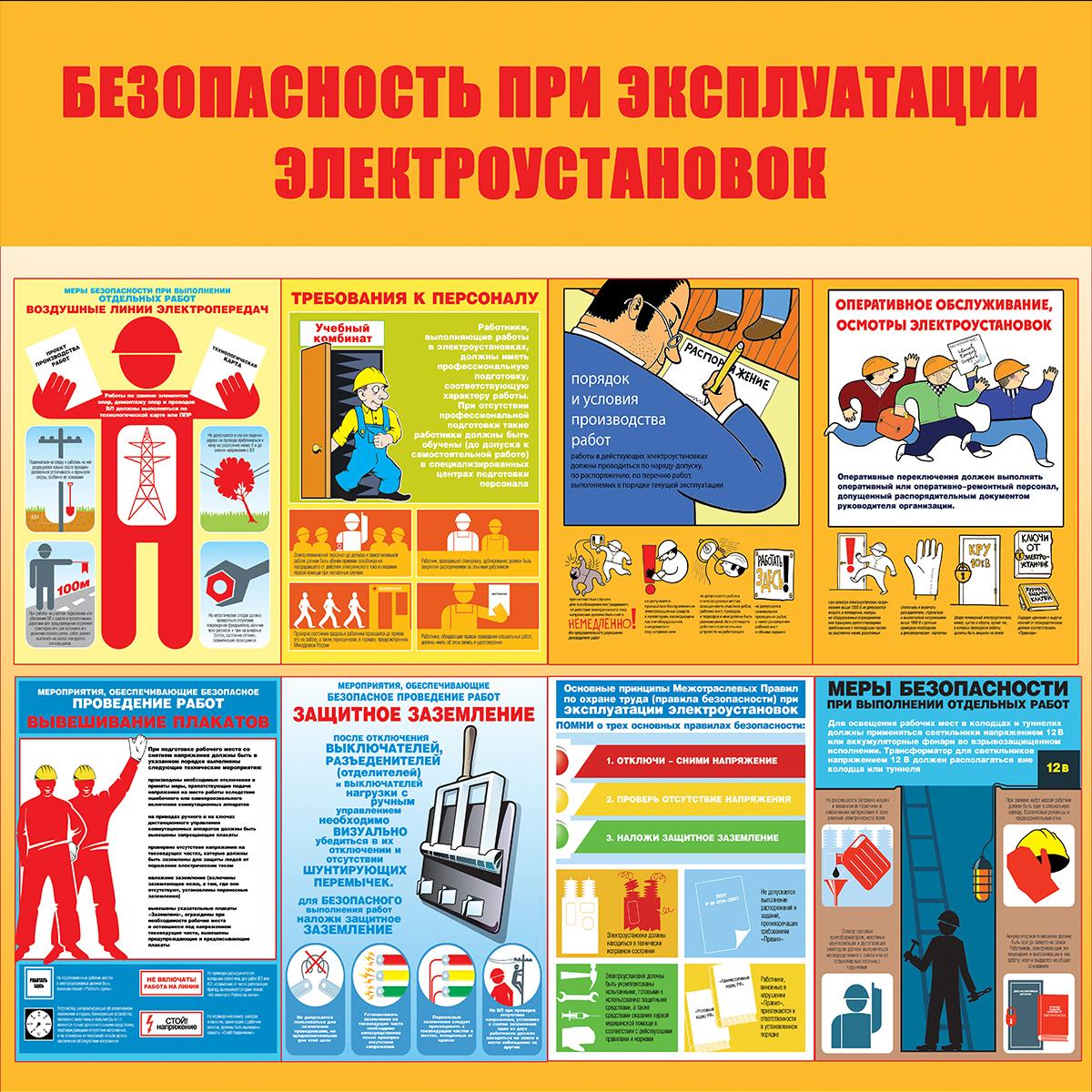 плакат Безопасная эсплуатация электроустановок  1000х1000 мм
