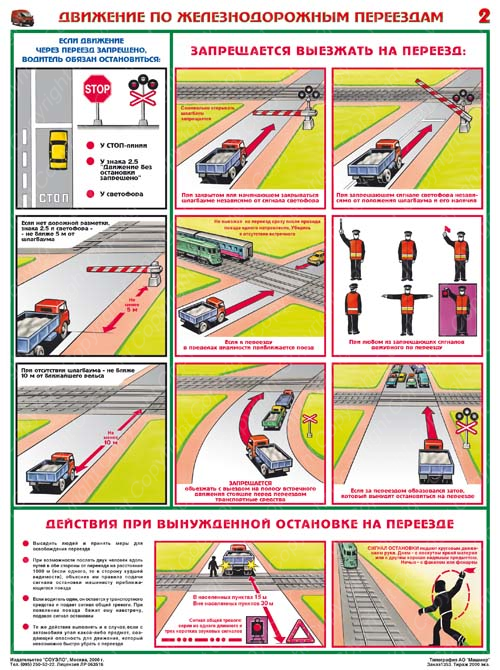 Движение по железнодорожным переездам,  600х800 мм