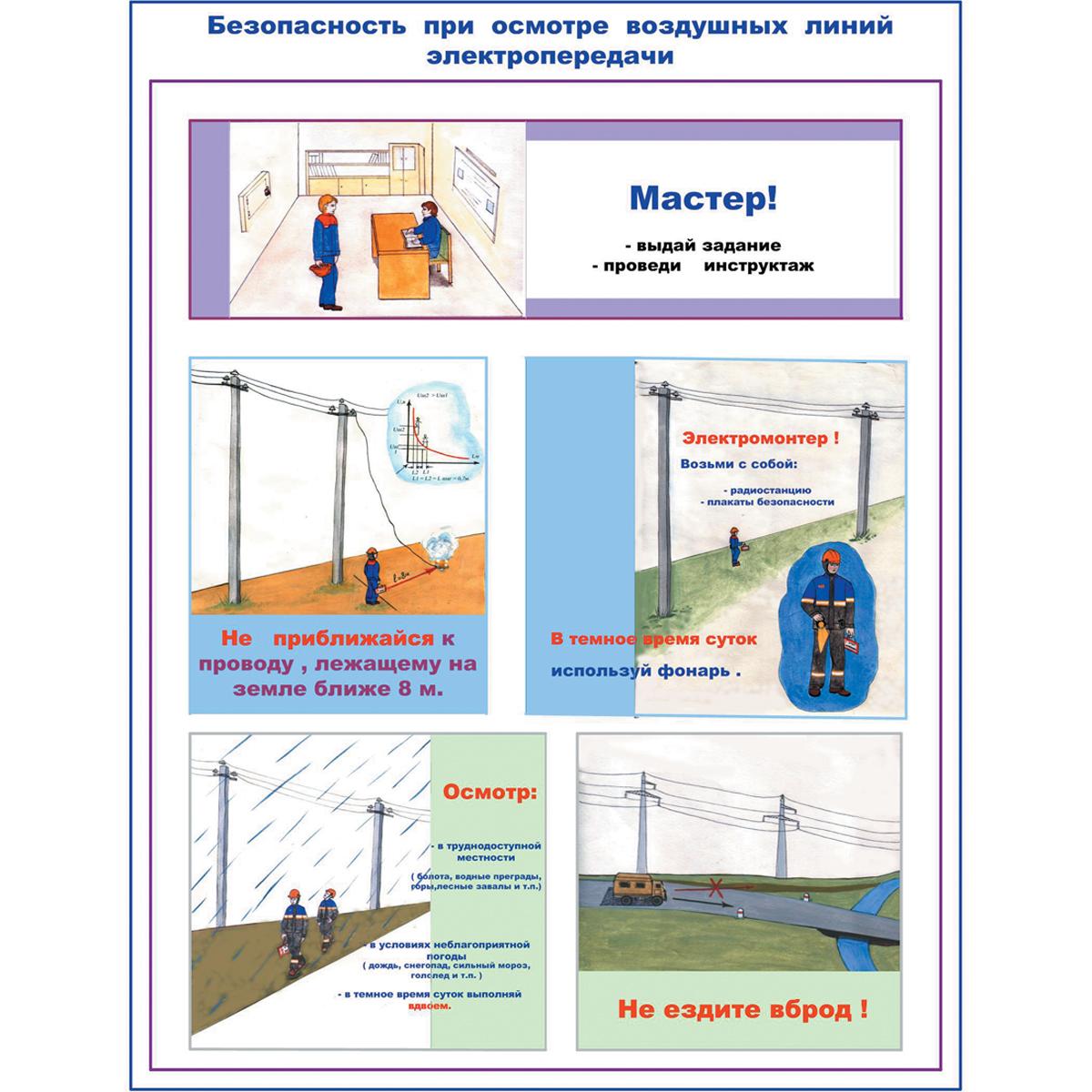 Плакат Безопасность при осмотре высоковольтных воздушных линий электропередачи и трансформаторных подстанций, к-т из 2 л. 420х594 мм, А2, лам.